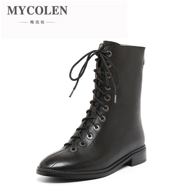 MYCOLEN Fashion Boots Women 2018 Autumn Winter Lace-Up Ladies Shoes Round Toe Luxury Designers Boots For Women Handmade Femme