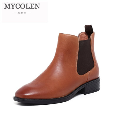 MYCOLEN 2018 Autumn Genuine Leather Boots Women Designer Handmade Low Heels Casual Ankle Boots Shoes Woman Stivaletti Donna