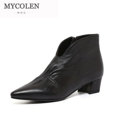 MYCOLEN 2018 Fashion Women Ankle Boots Luxury Designer Square Heel Women Boots Comfortable Leather Zipper Women Chelsea Boots