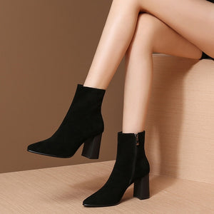 MYCOLEN 2018 Newest Color Ankle Boots Women Thick High Heels Chelsea Boots Luxury Brand Top Fashion Ladies Winter  Boots