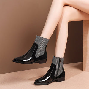 MYCOLEN 2018 Zipper Chunky  Boot Luxury Designer Short Metal Decoration Thick Heel Chelsea Boots Women Patchwork Shoes