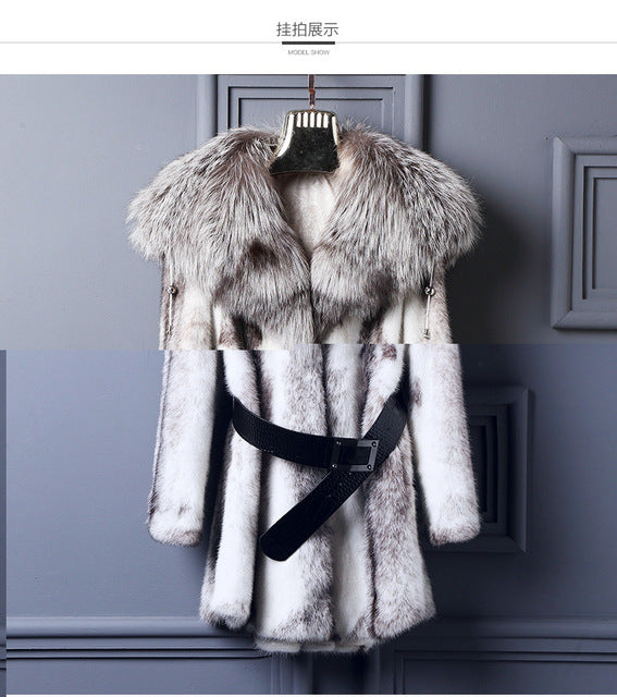 LVCHI Fur Story 2019 New Arrival Super Warm Winter Women's Real Silver Fox Fur Coat Natural Fox Color Full Sleeve Jacket