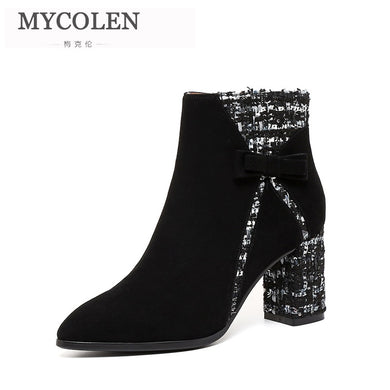 MYCOLEN Black Ankle Boots Women Thick High Heels Ladies  Boots Pointed Toe High Heels Shoes 2019 Autumn Winter Pumps