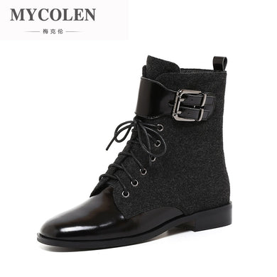 MYCOLEN 2018 Fashion Motocycle Booties Women Boots Luxury Designer Female Womens Ankle Boots Heel  Boots Autumn Shoes