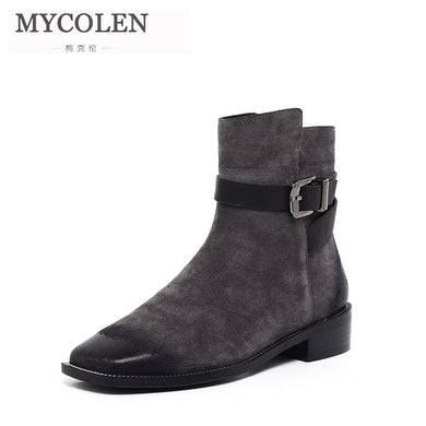 MYCOLEN 2019 Square Toe Low Heels Short Boots Women Brand Designer Buckle New Winter Fashion Square Heel Women Stivaletti Donna