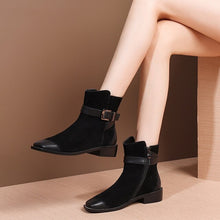Load image into Gallery viewer, MYCOLEN 2019 Square Toe Low Heels Short Boots Women Brand Designer Buckle New Winter Fashion Square Heel Women Stivaletti Donna