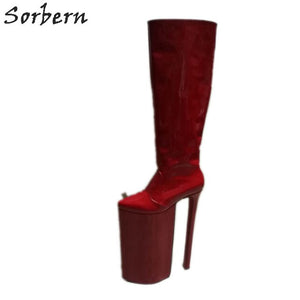 Sorbern Extreme High Heel Boots Knee High Thick Platform Boots Unique Shoes High Fashion 2019 Exotic Heel Size 46 Over 20Cm Heel