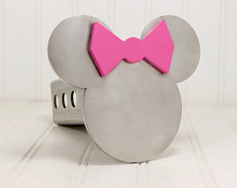 Stainless Minnie Mouse Ears with Pink Bow Hitch Cover, 2