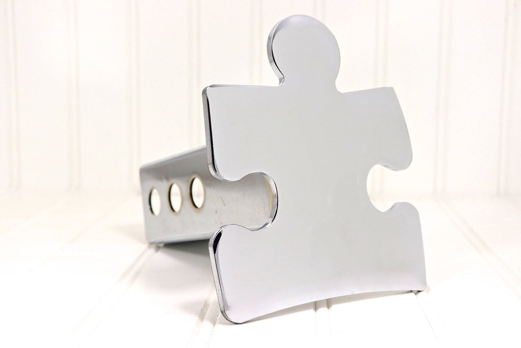 Chrome Autism Puzzle Piece Hitch Cover, Free Shipping