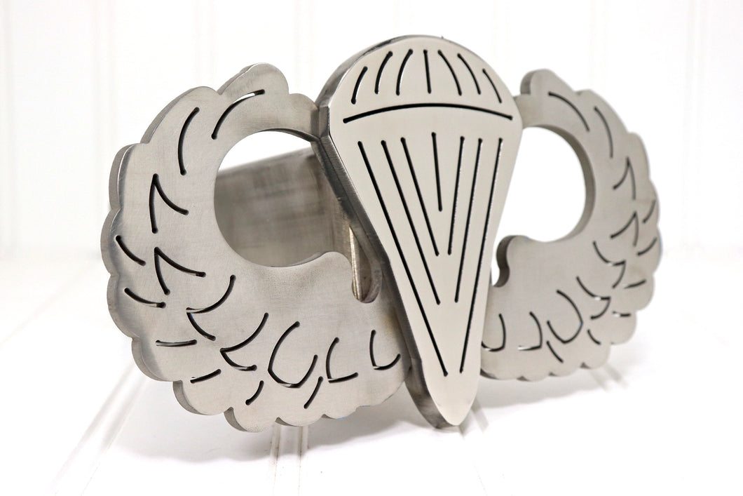 Stainless Steel Parachutist Badge Hitch Cover, Free Shipping