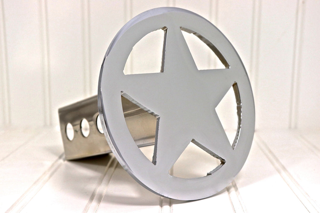 Chrome Circle Star Hitch Cover, Large, Free Shipping