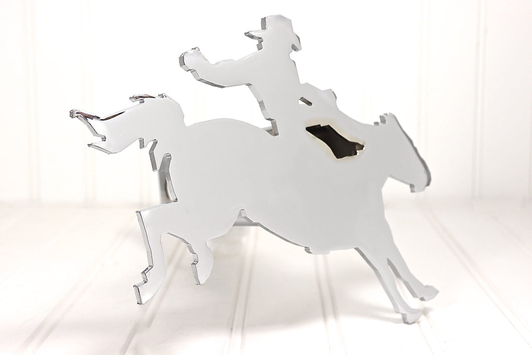 Chrome Bronc Rider Hitch Cover, Free Shipping