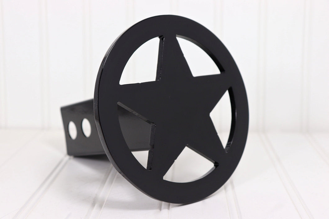 Black Circle Star Hitch Cover, Free Shipping
