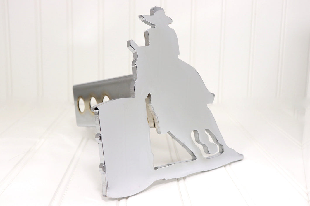 Chrome Cowboy Barrel Racer Hitch Cover, Free Shipping