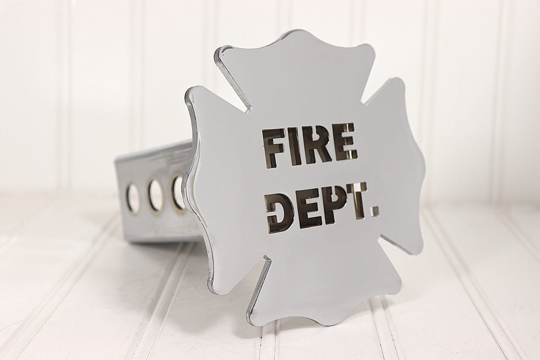 Chrome Fire Dept Maltese Cross Hitch Cover, Free Shipping