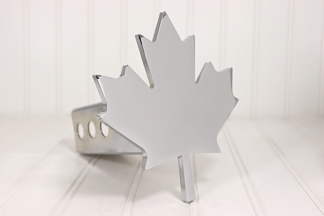 Chrome Canadian Maple Leaf Hitch Cover, Free Shipping