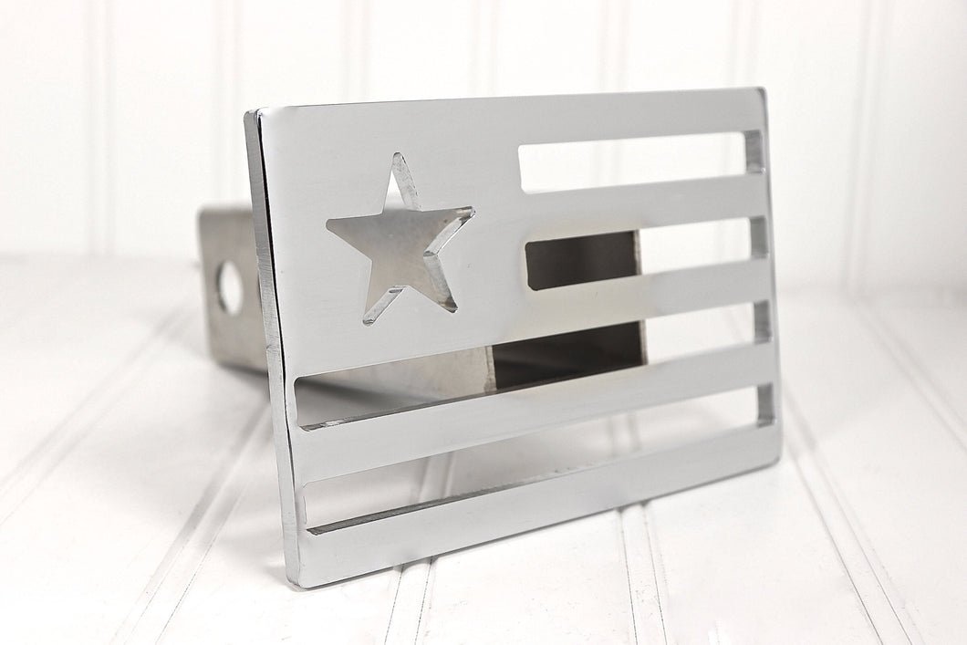 Chrome Patriotic Flag Hitch Cover, Free Shipping