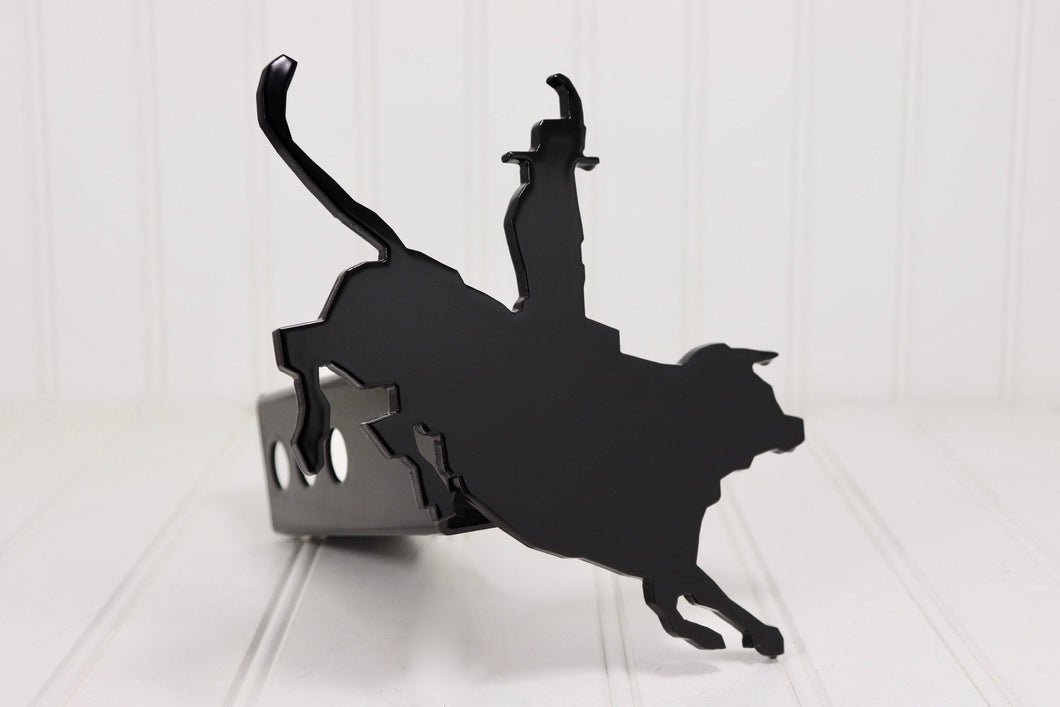 Black Bull Riding Hitch Cover, Free Shipping
