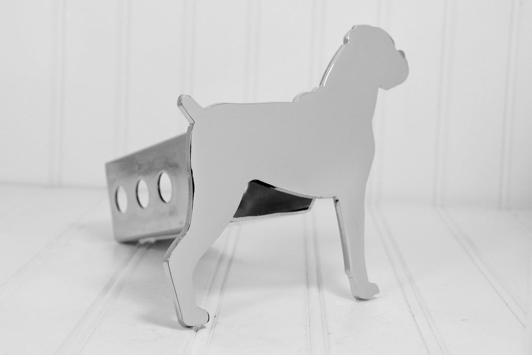 Chrome Boxer Floppy Ears Hitch Cover, Free Shipping