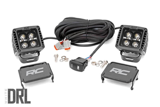 2-INCH SQUARE CREE LED LIGHTS - (PAIR | BLACK SERIES W/ COOL WHITE DRL)