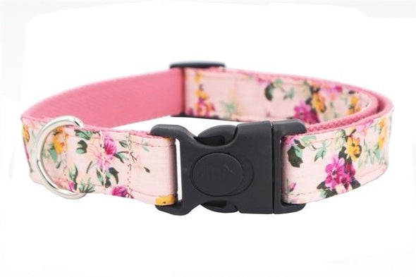 Pink Floral Dog Collar Bow Tie