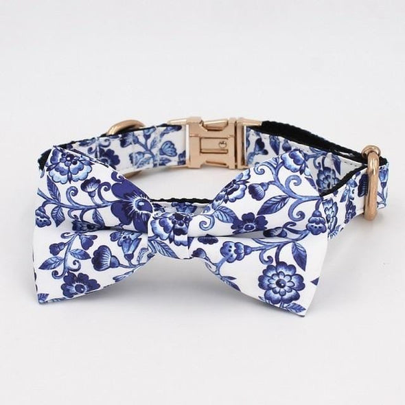 Indigo Blue Floral Dog Collar Bow Tie