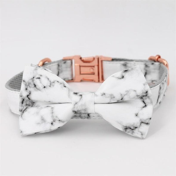 Marble Dog collar Bow Tie
