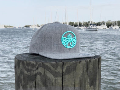 Heather Grey/Aqua Flat Bill Snap Back