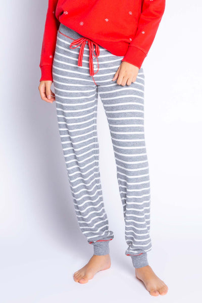 Heather Grey Striped Pant