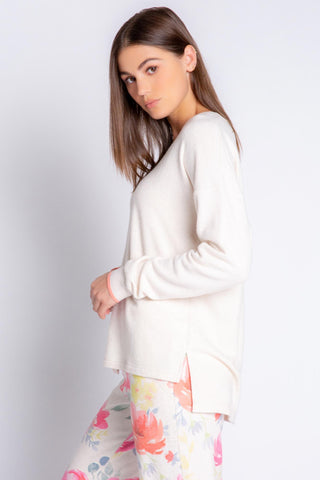 Happy Blooms, Solid Long Sleeve Top