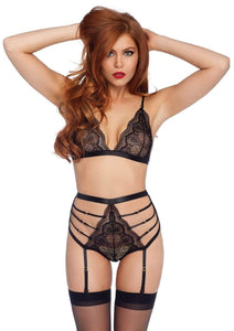 2 Pc Lace Bra And High Waist Panties