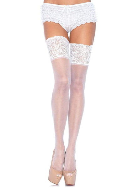 Stay Up Sheer Thigh Highs, One Size and Plus Size, 4 Colours
