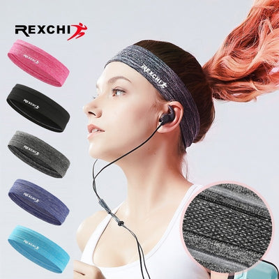 REXCHI Elastic Sweatband Sports Gym Headband Anti-Slip Women Men Breathable Basketball Fitness Yoga Volleyball Cycling Hair Band
