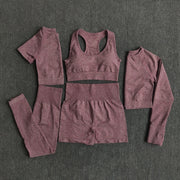 5pcs set Women Workout Seamless Yoga Set Fitness Short Sleeve Long Crop Top Shirts Running Gym Leggings Shorts Gym Clothes
