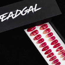 Load image into Gallery viewer, Medium Almond Hot Pink Jade Press On Nail Set - DeadGal