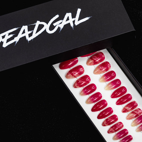 Medium Almond Hot Pink Jade Press On Nail Set - DeadGal