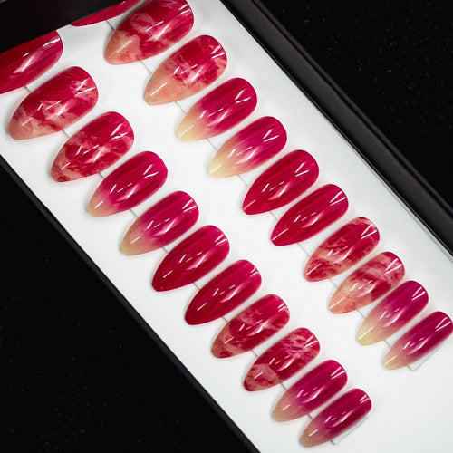 75% OFF - Medium Almond Hot Pink Jade Press On Nail Set - DeadGal