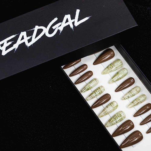 HANDMADE Long Claw Dark Nude White Gold Paris Press On Nail Set - DeadGal