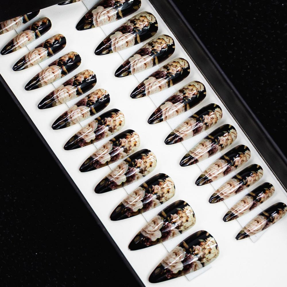 75% OFF - Medium Claw Rose White Flowers on Black Press On Nail Set - DeadGal