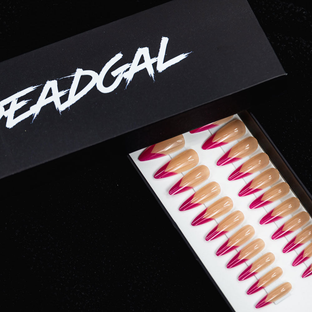 Medium Claw Hot Pink Tips French Manicure Press On Nail Set - DeadGal