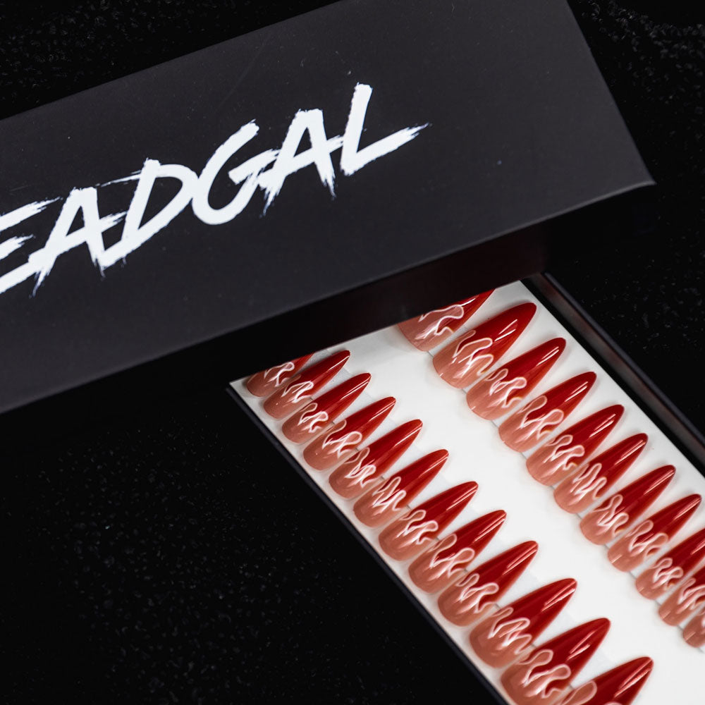 Medium Claw Red Flame Press On Nail Set - DeadGal