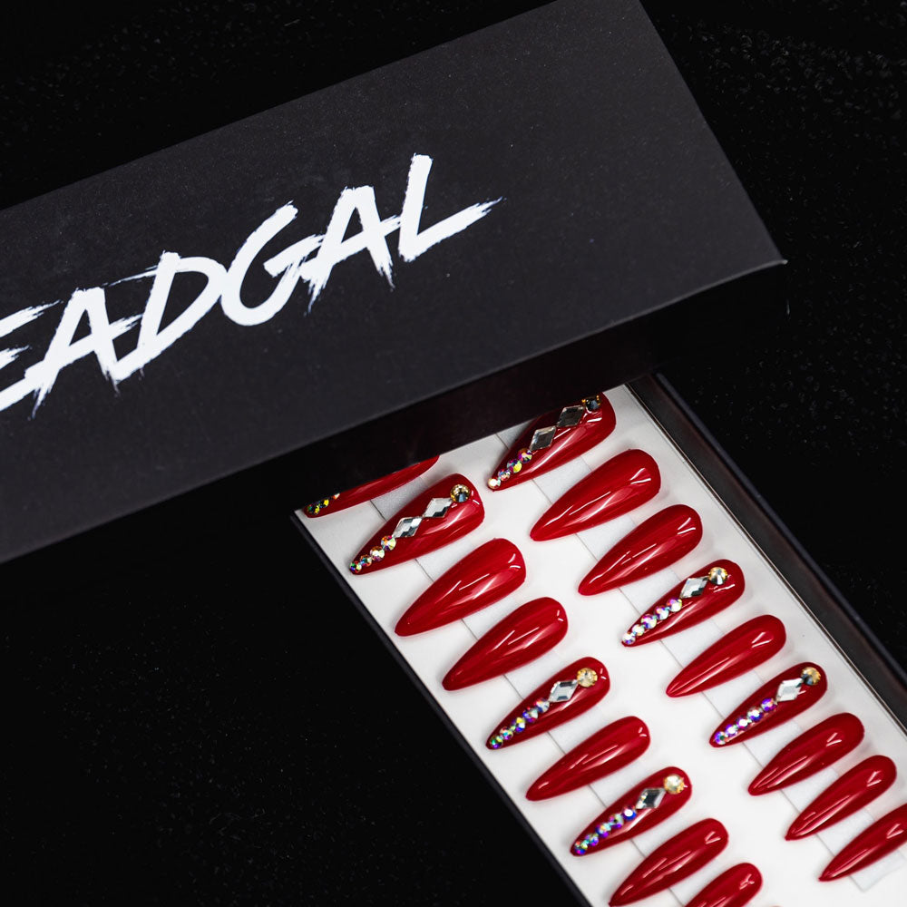 HANDMADE Long Claw Red Jewel Press On Nail Set - DeadGal
