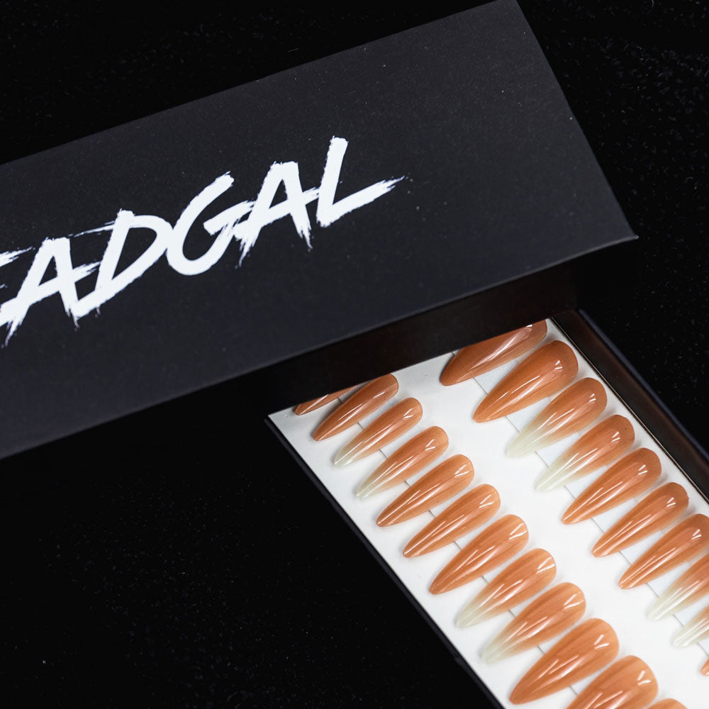 Medium Claw White Ombré Nude Press On Nail Set - DeadGal