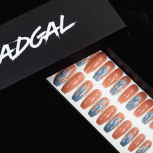 Load image into Gallery viewer, Medium Coffin Blue Flame and Solid Nude Press On Nail Set - DeadGal