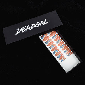Medium Coffin Blue Flame and Solid Nude Press On Nail Set - DeadGal