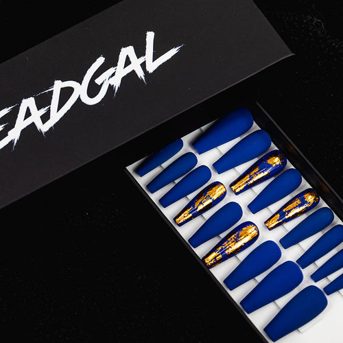 HANDMADE Long Coffin Gold Flake Blue Matte Press On Nail Set - DeadGal