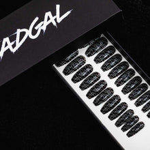 Load image into Gallery viewer, Medium Coffin Black FF Designer Press On Nail Set - DeadGal