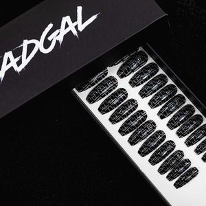 Medium Coffin Black FF Designer Press On Nail Set - DeadGal