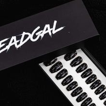 Load image into Gallery viewer, Short Coffin CC on Solid Black Designer Press On Nail Set - DeadGal