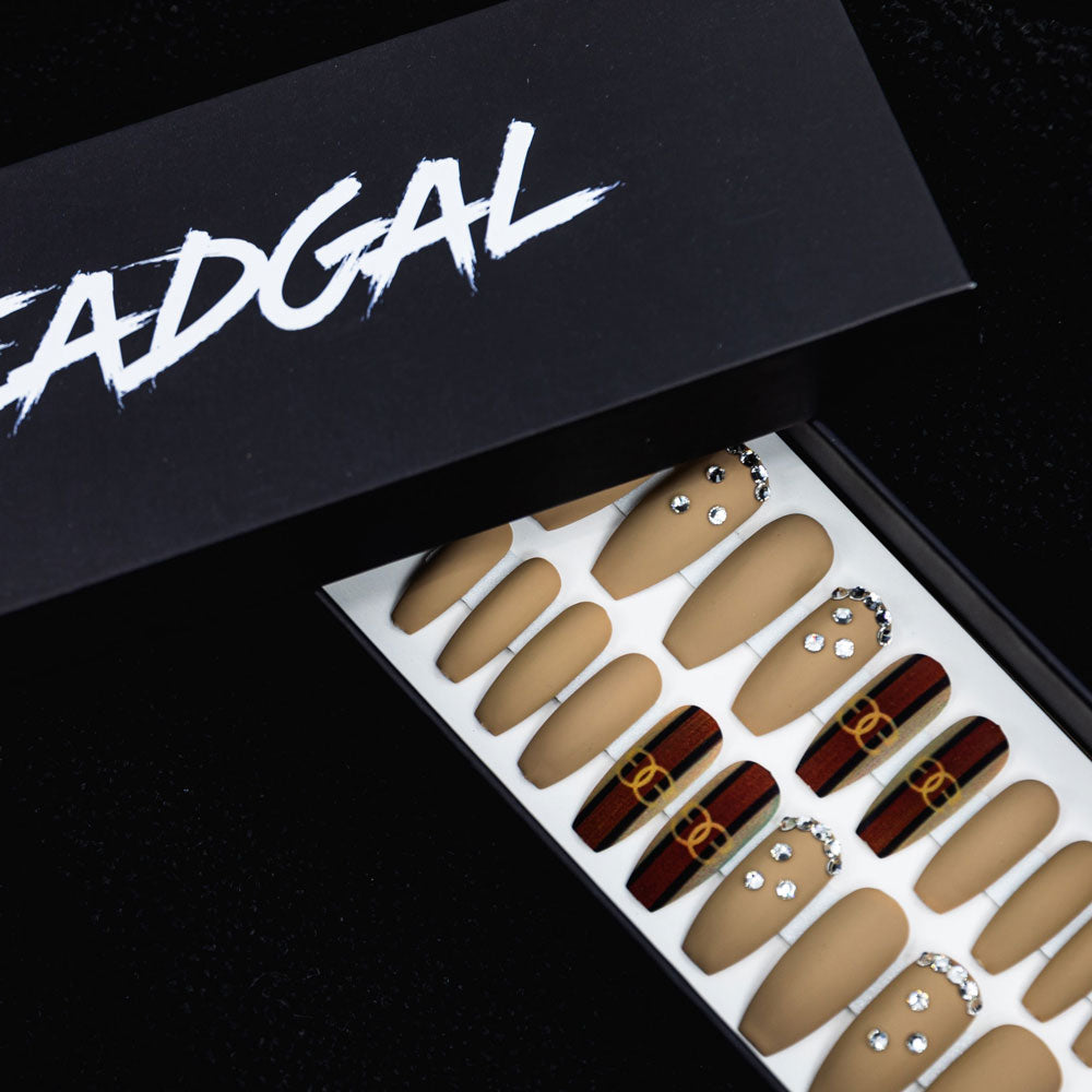 HANDMADE Medium Coffin Nude and GG Stripe Jewels Designer Press On Nail Set - DeadGal